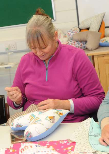 Heart cushions and quilts are being made for West Suffolk Hospital''Pictured: Julia Wigley (Chair of West Suffolk Cancer Support Group)