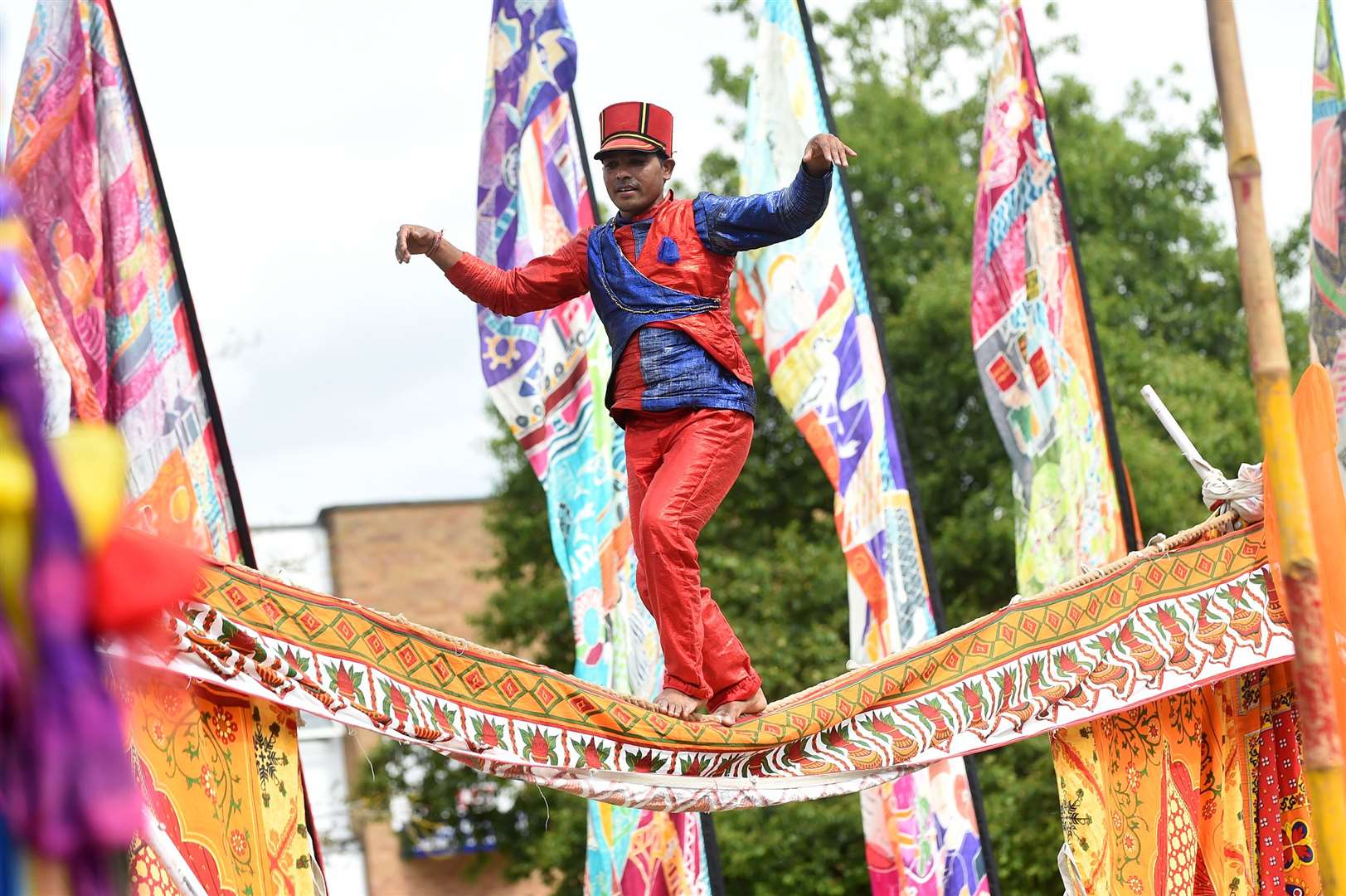 Circus Raj brought many acts to the Mela including a slack rope walker