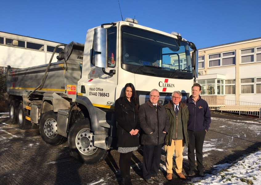 From left to right: Tracy Grace (Clerkin), Neil Turvey (West Suffolk Council surveyor), Cllr Peter Stevens and Dean Clerkin at Clerkin Group's new site in Hollands Road, Haverhill