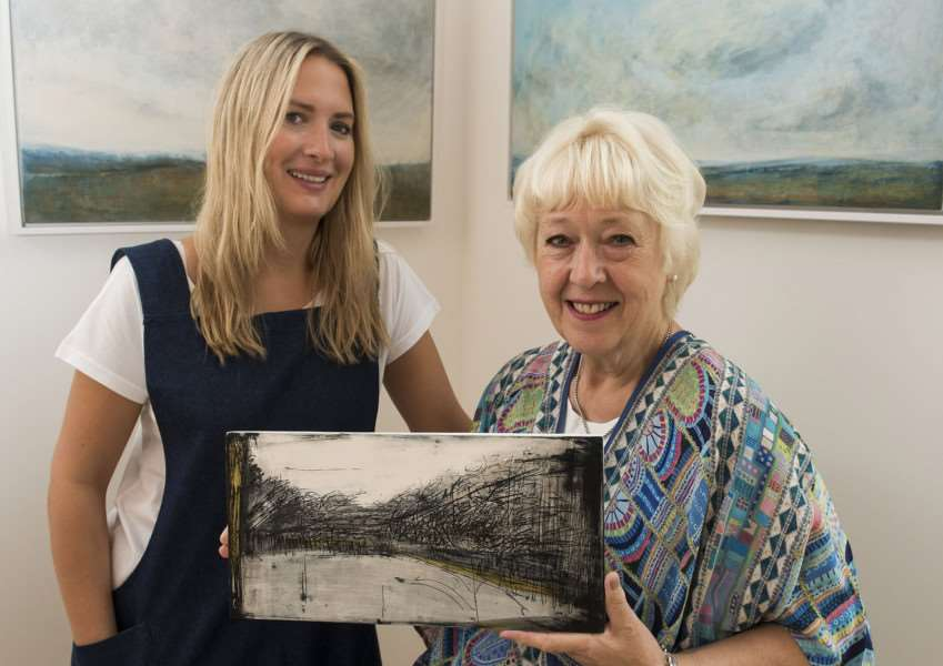 Annalie Ashwell with her mother Linda in their art gallery which will be showing an exhibition by Alex McIntyre. Picture Mark Westley