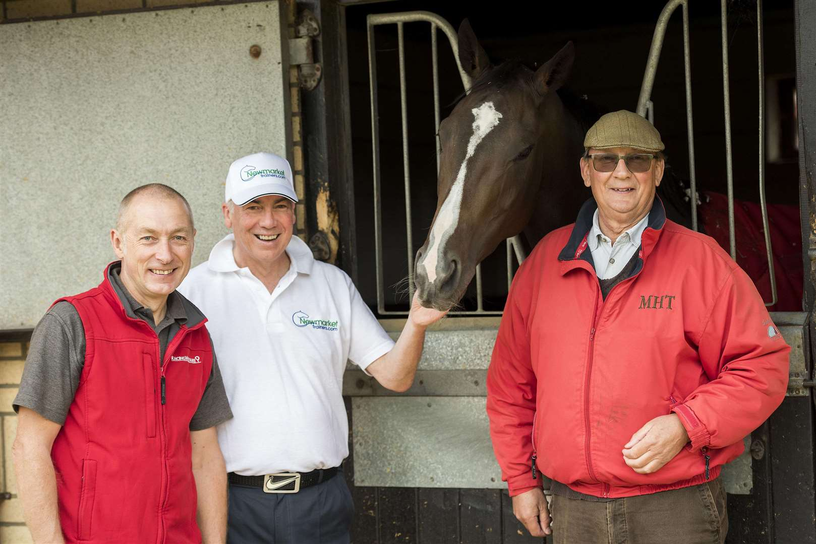 Newmarket trainer Mark Thompkins, Cliff Woof, and Mark Loades