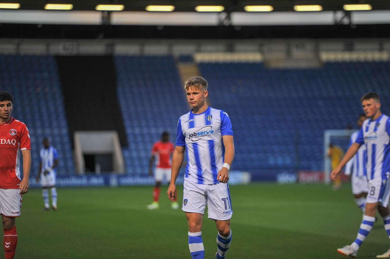 Ollie Sims in action for Colchester United Under-23s against Charlton Athletic Picture: Tom West (6228392)