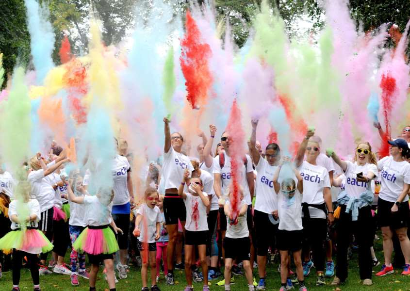 Colour Dash in Nowton Park on Sunday.''Paint party at the beginning of the race.''Picture by Suzy Abbott