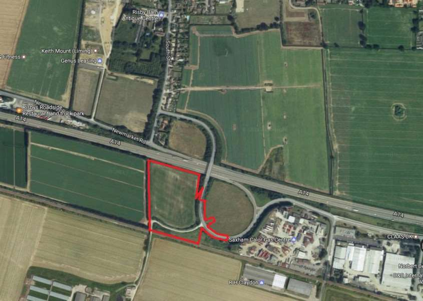 Site for a proposed 100-lorry stop beside the A14 at Risby'Map: Google Earth