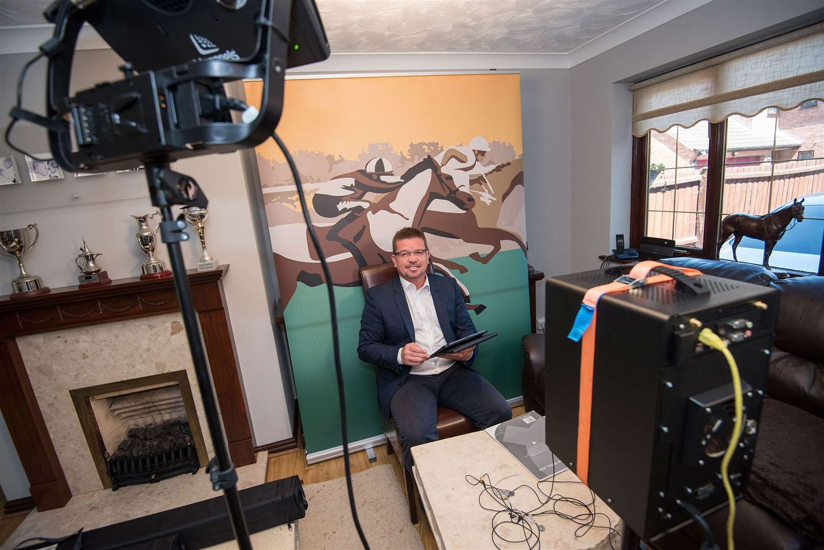 Newmarket. ITV Racing's Jason Weaver created a studio in his home to present racing when it returns to ITV in early June. Picture by Mark Westley. (34926503)