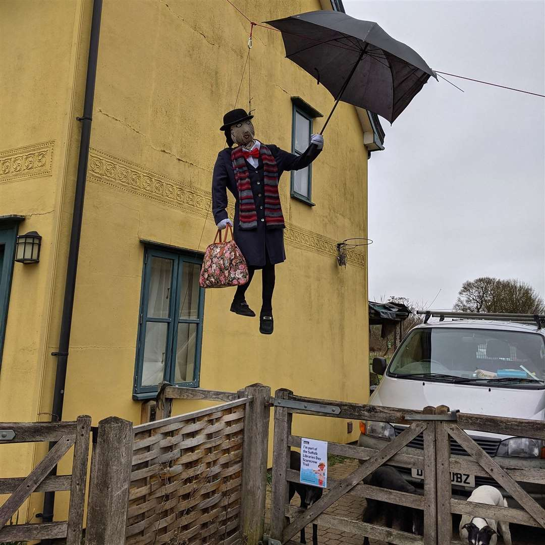 A lot of effort was put into this flying Mary Poppins scarecrow. Picture: Clare Library Facebook