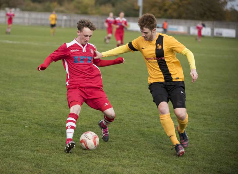 END IN SIGHT: Mason Newman (left) has been the focal point of Haverhill Rovers and their battle against a points deduction