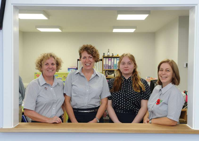 The new Priory welcome centre. Sharon Reynolds, Zoe Hobbs, Ewa Rudzka and Diana McGaley ANL-160411-180244009
