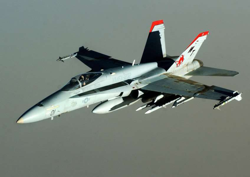 An F/A-18 Hornet of the US Marine Corps VMFA-232 Red Devils'USAF photo by Staff Sgt. Cherie Thurlby