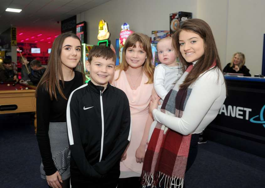 Pictured: Olivia Morris (left) and Lauren Downey (right) with William's siblings, Nay Smedley-Collier, Tam Smedley-Collier and Lacey Collier PICTURE: Mecha Morton