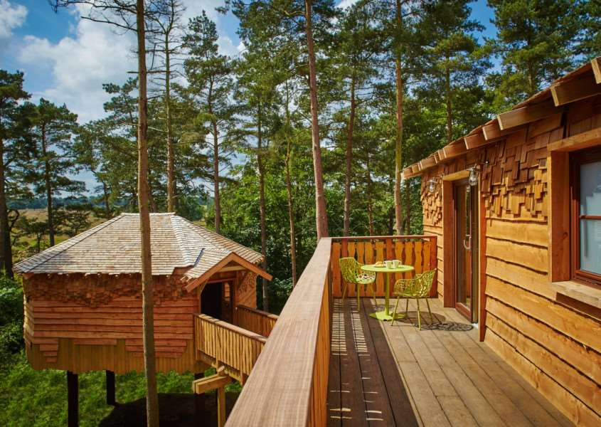 The master balcony at one of the four treehouses at Center Parcs' Elveden Forest resort.