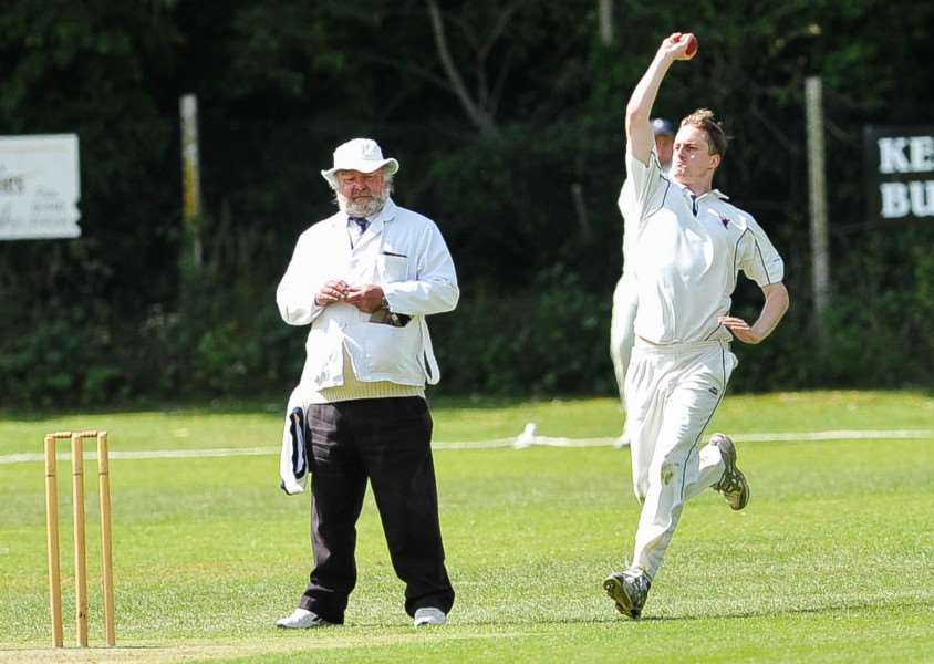 Cricket action from Haverhill v Sudbury ll. FL; Ben Wilkins bowling for Haverhill. ANL-150806-202550009