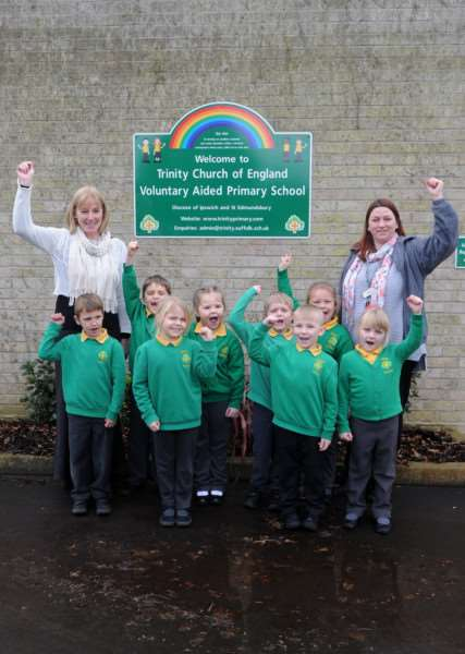 Trinity Primary School has received an outstanding SIAMS (Statutory Inspection of Anglican and Methodist Schools) report. It is the school's first ever report since it opened in September 2014.''Pictured: School council with Head Teacher Linda Curran-Spain and Teaching Assistant who leads the School council Charlotte Aldis