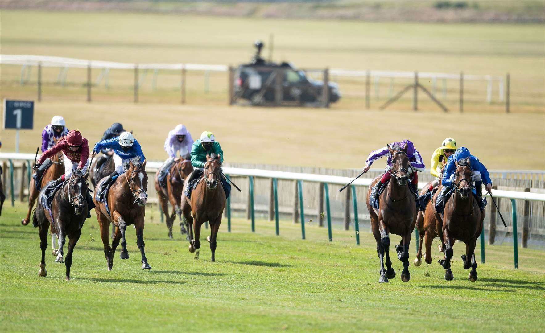 Kameko (Oisin Murphy,left) wins the Qipco 2000 Guineas from Wichita (2nd right) and Pinatubo (right).Newmarket 6.6.20 Pic: Edward Whitaker. (36301720)