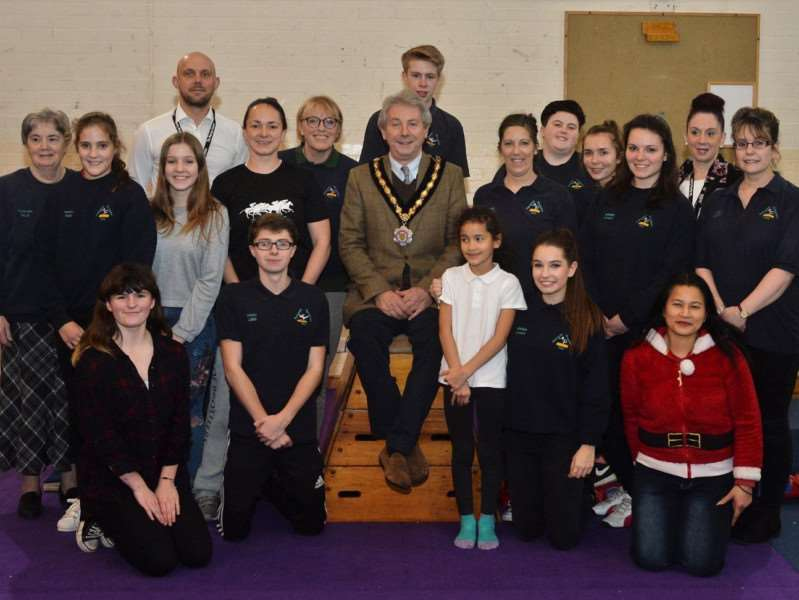 Gym club members with Cllr Andy Drummond at the special introduction evening at the new headquarters