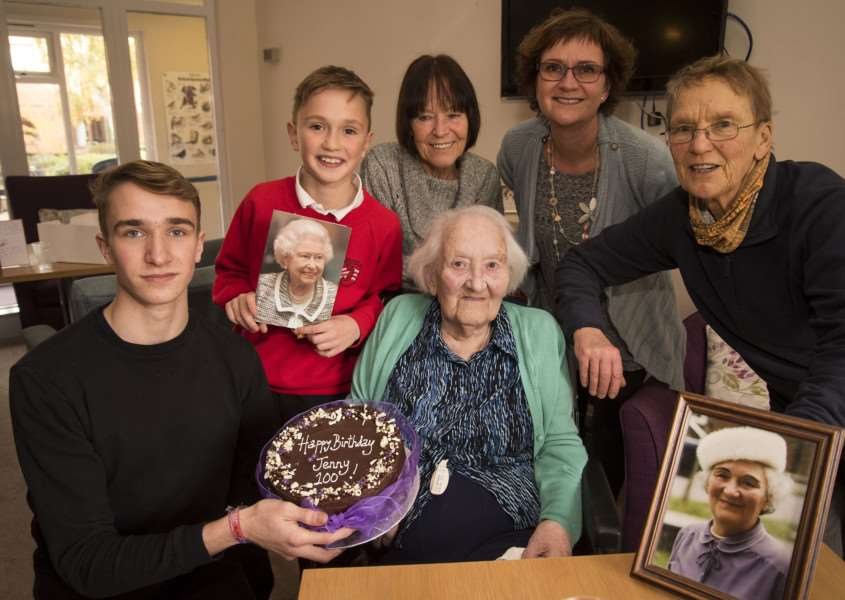 Jenny Williams celebrates her100th birthday with her family'Jill Clampitt, Jan Greenslade, Debbie Greenslade with Tom 10 and Jonny 17.''Picture Mark Westley ANL-160211-195758009