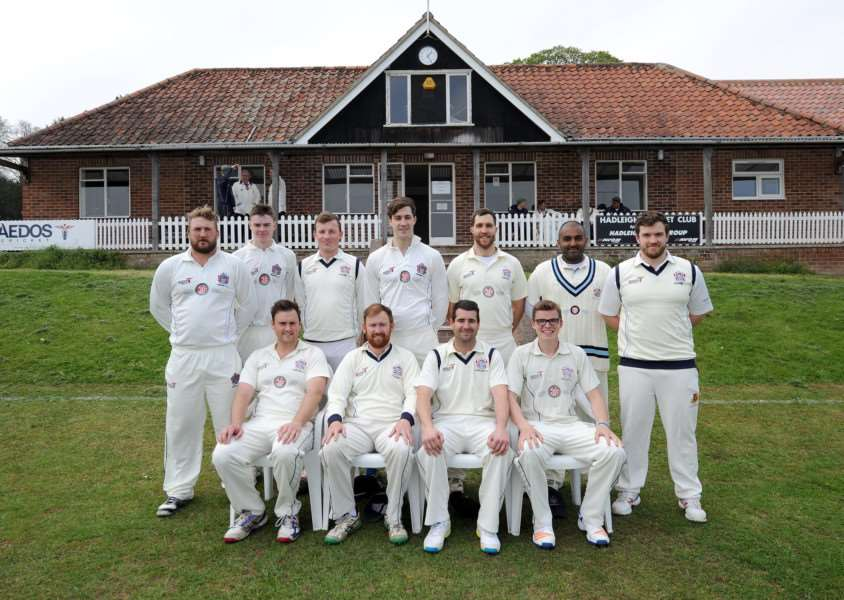 FRESH LOOK: The Hadleigh team pose in front of their new pavilion