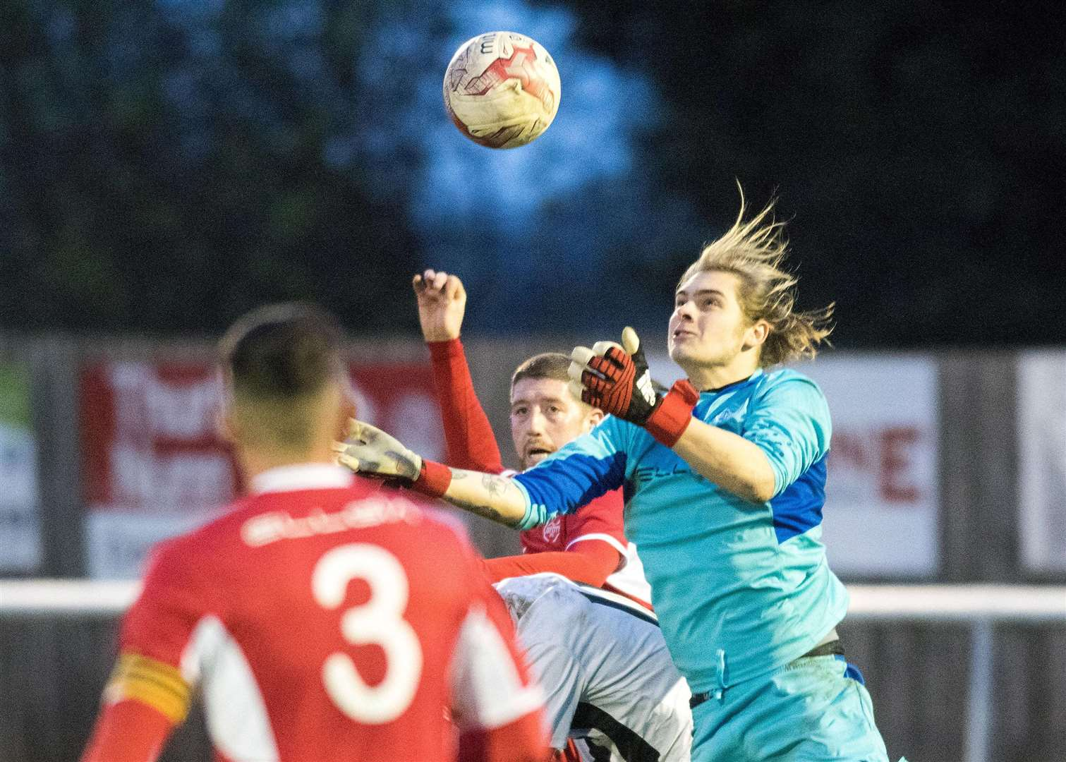 CONFIDENT CLAIM: Evan Jeckells claims a cross ahead of a Melford player