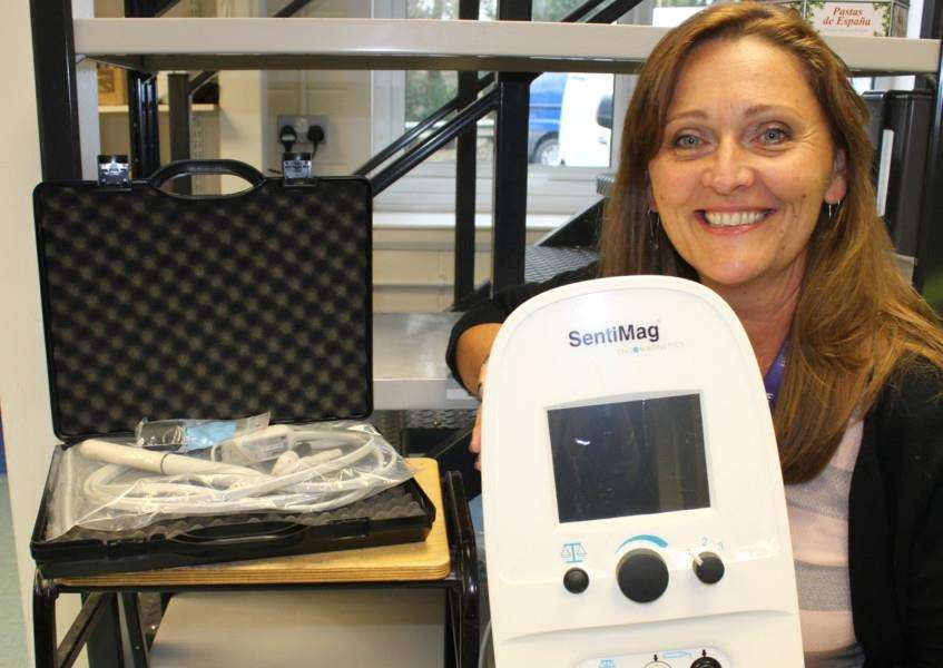 Sue Smith, My Wish Charity's fund-raising manager, with the Sentimag machine purchased as a result of the Love Your Nodes campaign