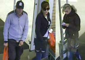 CCTV images showing suspects thought to have stolen credit cards from an elderly woman in Nayland. ANL-150218-115429001