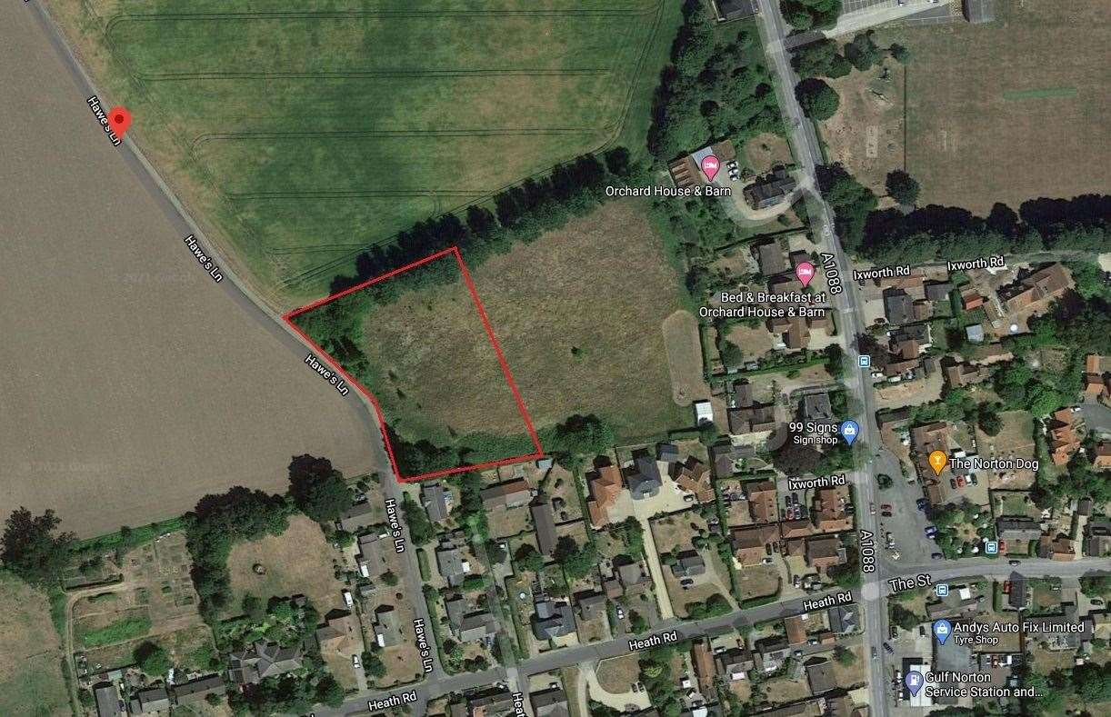 Land off Hawes Lane in Norton where plans for nine homes have been lodged. Picture: GOOGLE MAPS (45926010)
