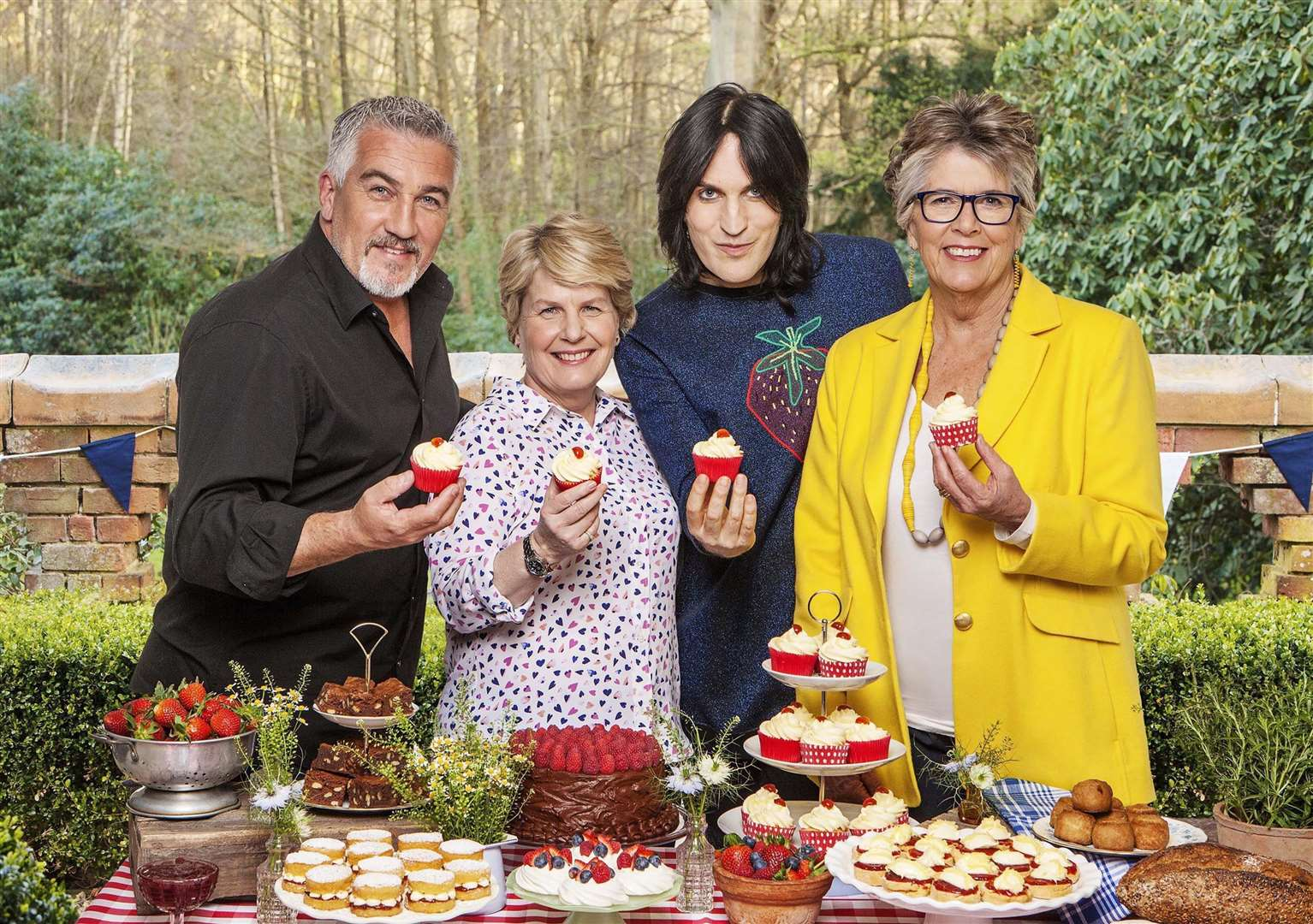 Prue Leith on the set of Great British Bake Off with fellow presenters Paul Hollywood, Sandie Toksvig and Noel Fielding