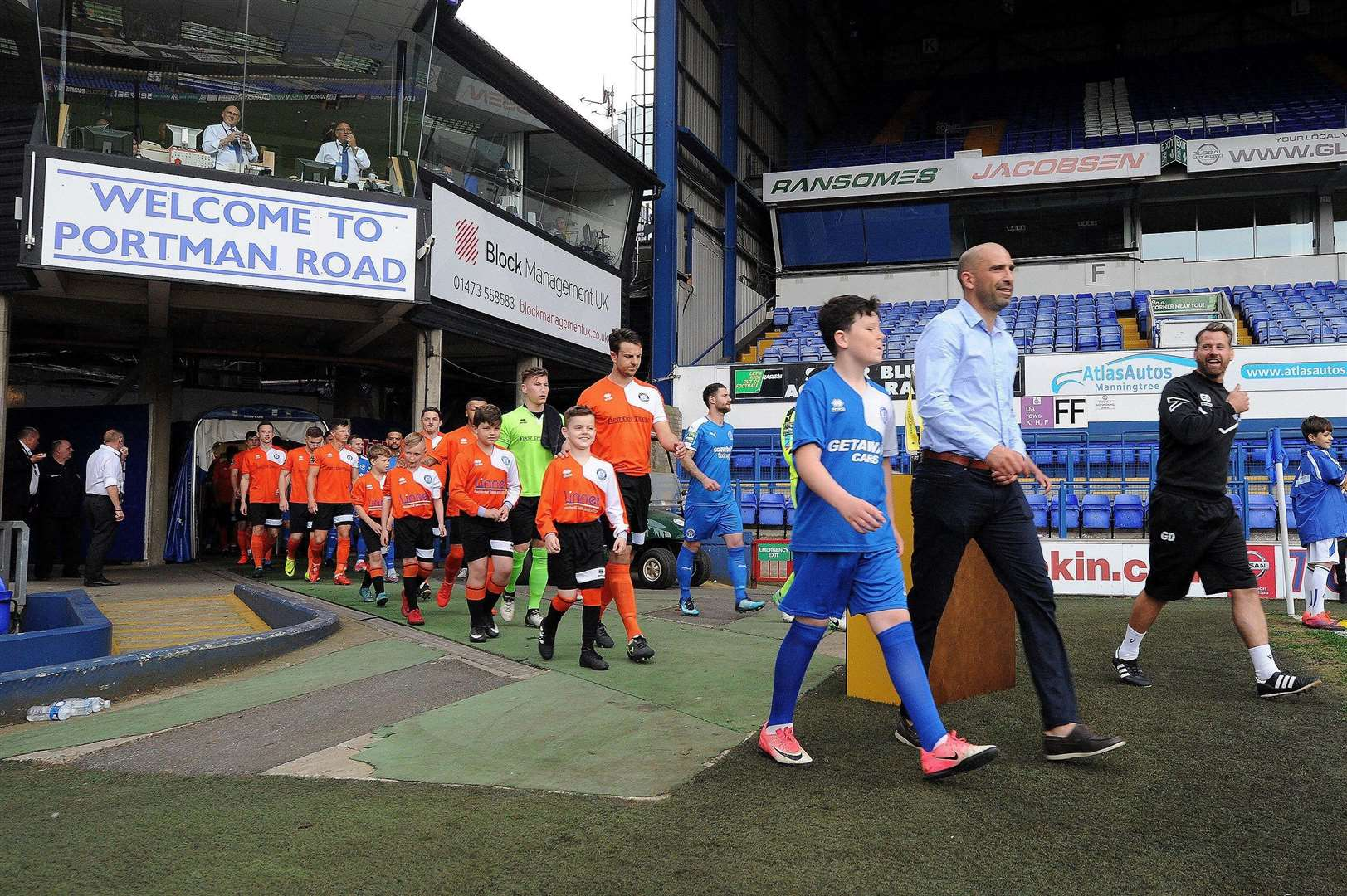 SPECIAL OCCASION: Bury Town and Leiston walk out from the tunnel for last season's Suffolk Premier Cup final, which was played at Portman Road