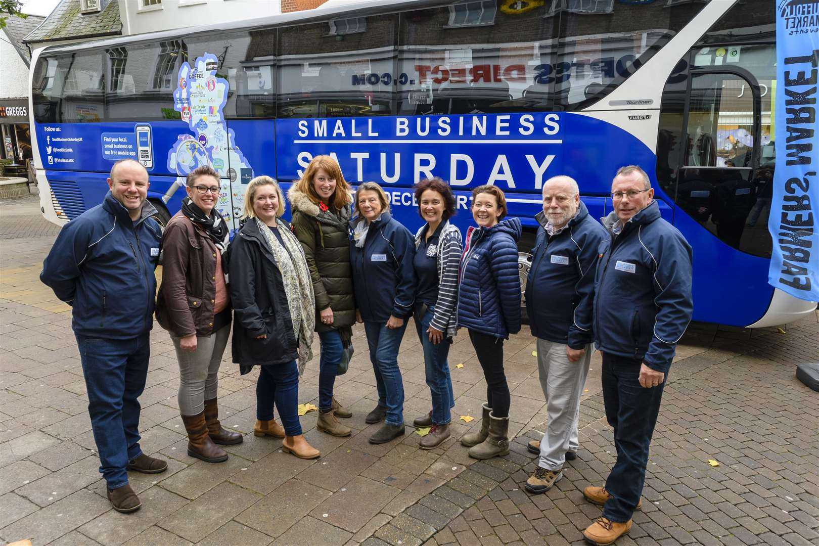 Bury St Edmunds, Suffolk, UK, 06 November 2018..Small Business Saturday bus in the Cornhill of Bury St Edmunds pictured are local business owners and volunteers of the Business Bus..Picture: Mark Bullimore Photography. (22208604)