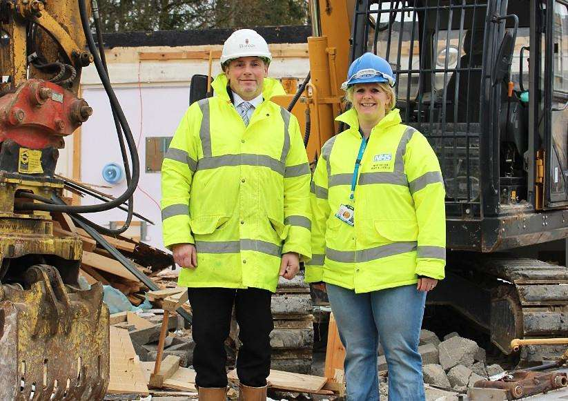 Hannah Sharland, estates and facilities project manager at West Suffolk Hospital, and Paul Hutton, senior site manager at Barnes Construction, at the demolition site
