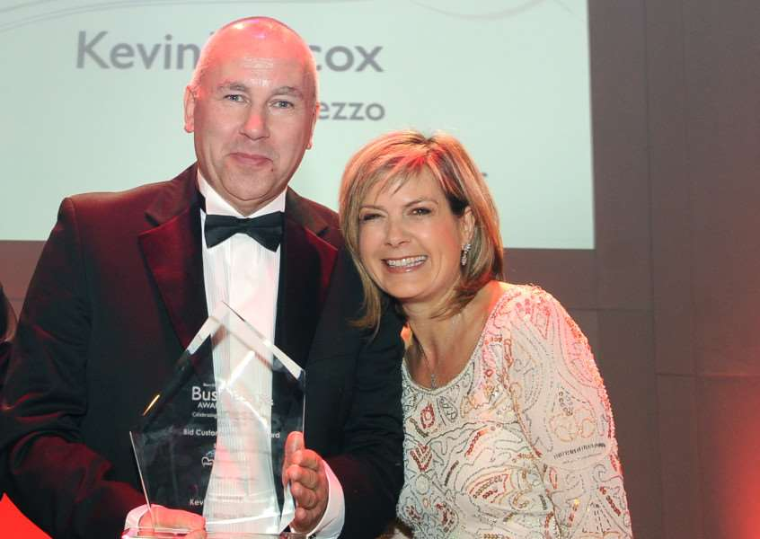 Bury Free Press Business Awards 2014 ''Pictured: Customer Service Award: Kevin Wilcox, from Prezzo, and presenter Penny Smith
