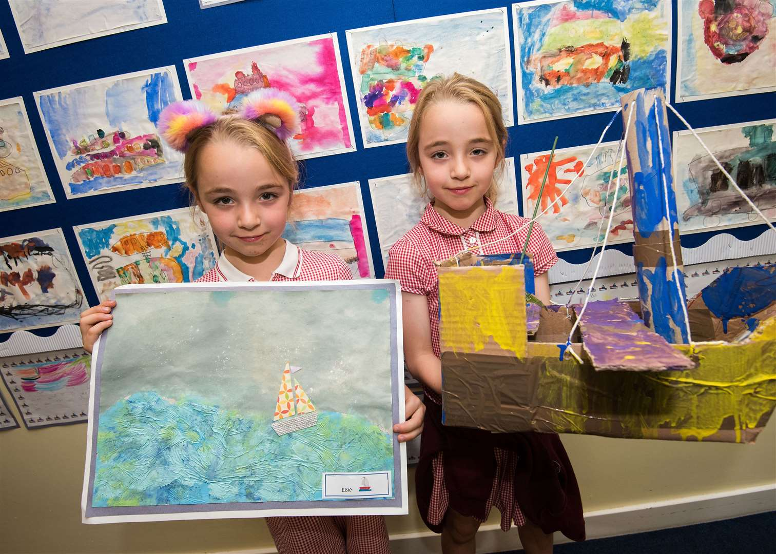 Tudor Church of England Primary School, Tudor Road, Sudbury.Tudor Primary School is hosting a whole school art exhibition, in collaboration with the National Gallery in London, as part of a project called Take One Picture. Abigail and Emelia Smith. Picture by Mark Westley. (13661927)
