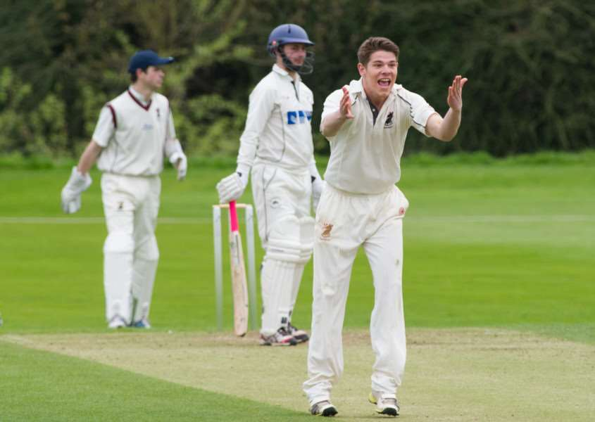Haverhill all-rounder Dan Pass appeals for an lbw against Mildenhall in the Sunday league