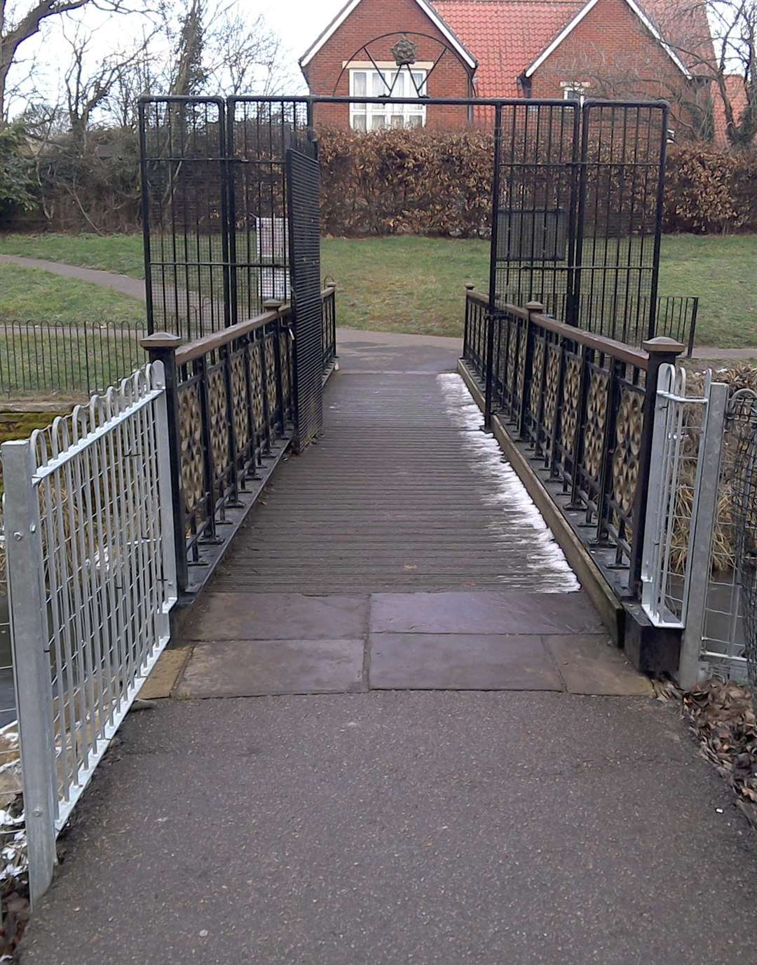 Do you know where this leads? Pathway over the river in the Abbey Gardens. See Circular walk is Bury's best kept secret