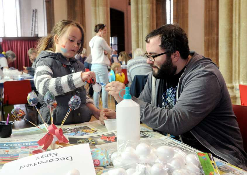 I-Spy Easter run by Churches together in Sudbury''Pictured: lily-Ahah Clark (7) with brother Garon decorating eggs'''PICTURE: Mecha Morton