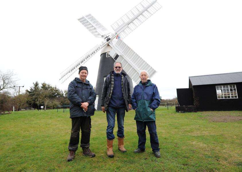 Thelnetham windmill open day''Pictured: Volunteers John Amber, Mitch and Chris Mulls '''PICTURE: Mecha Morton