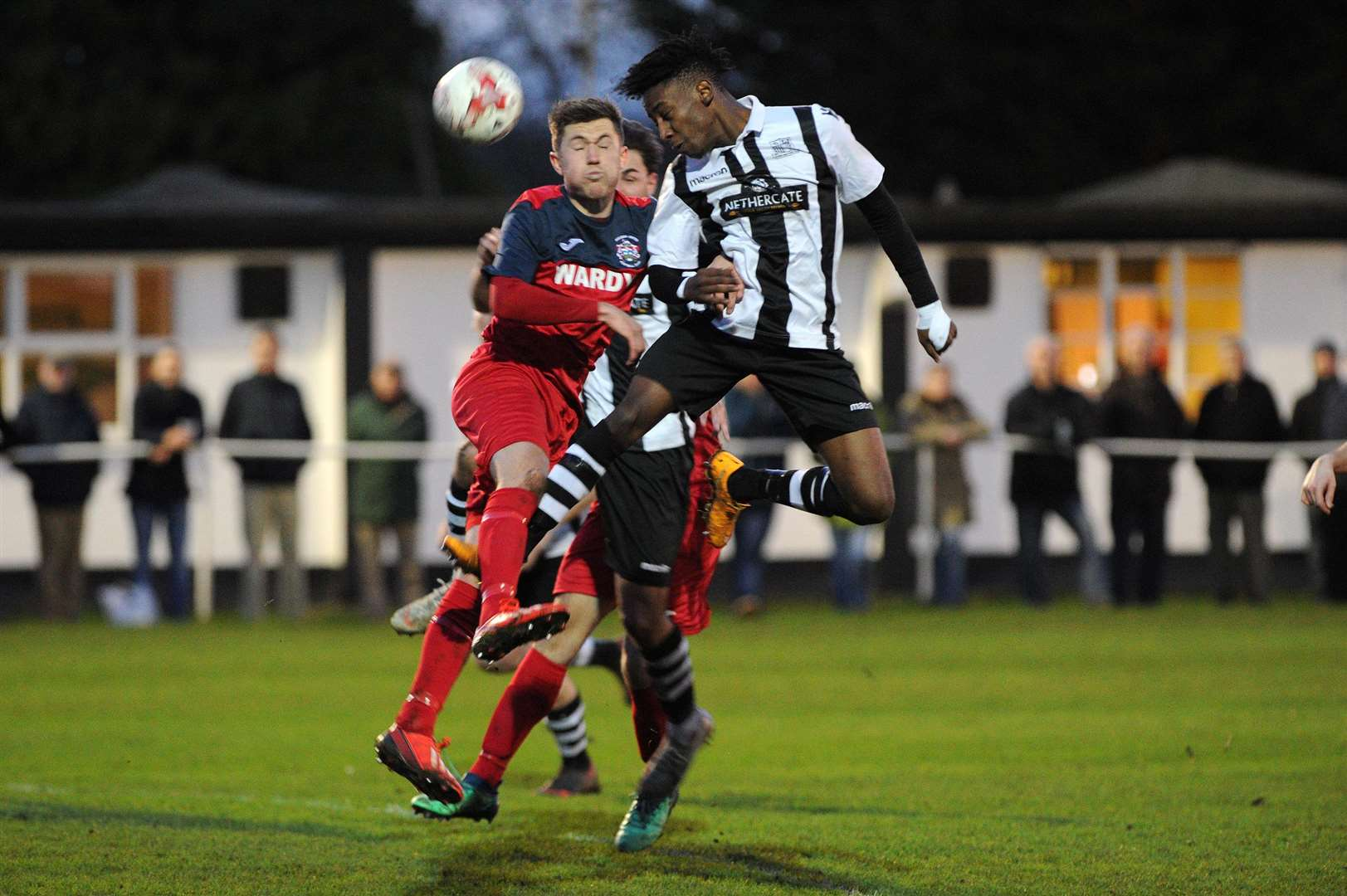 FOOTBALL - Long Melford v Hadleigh United..Pictured: James Ross (H) and Emmanuel Machaya (L)....PICTURE: Mecha Morton. (6245817)