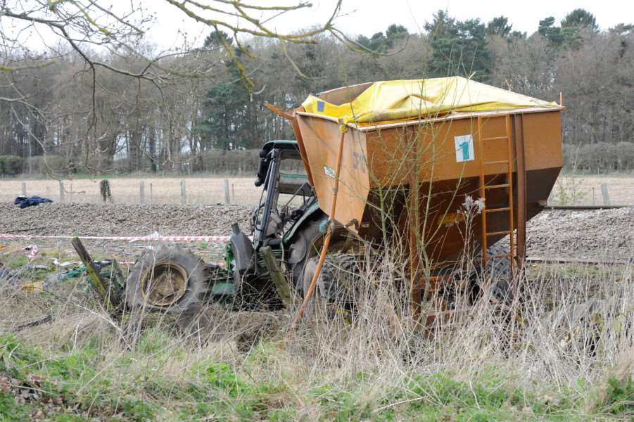 Train and Tractor crash at Roudham''Pictured: The tractor that crashed with the train ANL-161004-191337009