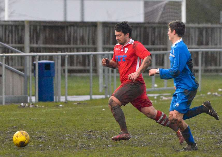 Haverhill Rovers' player-manager Michael Shinn in action against Kirkley & Pakefield earlier this season