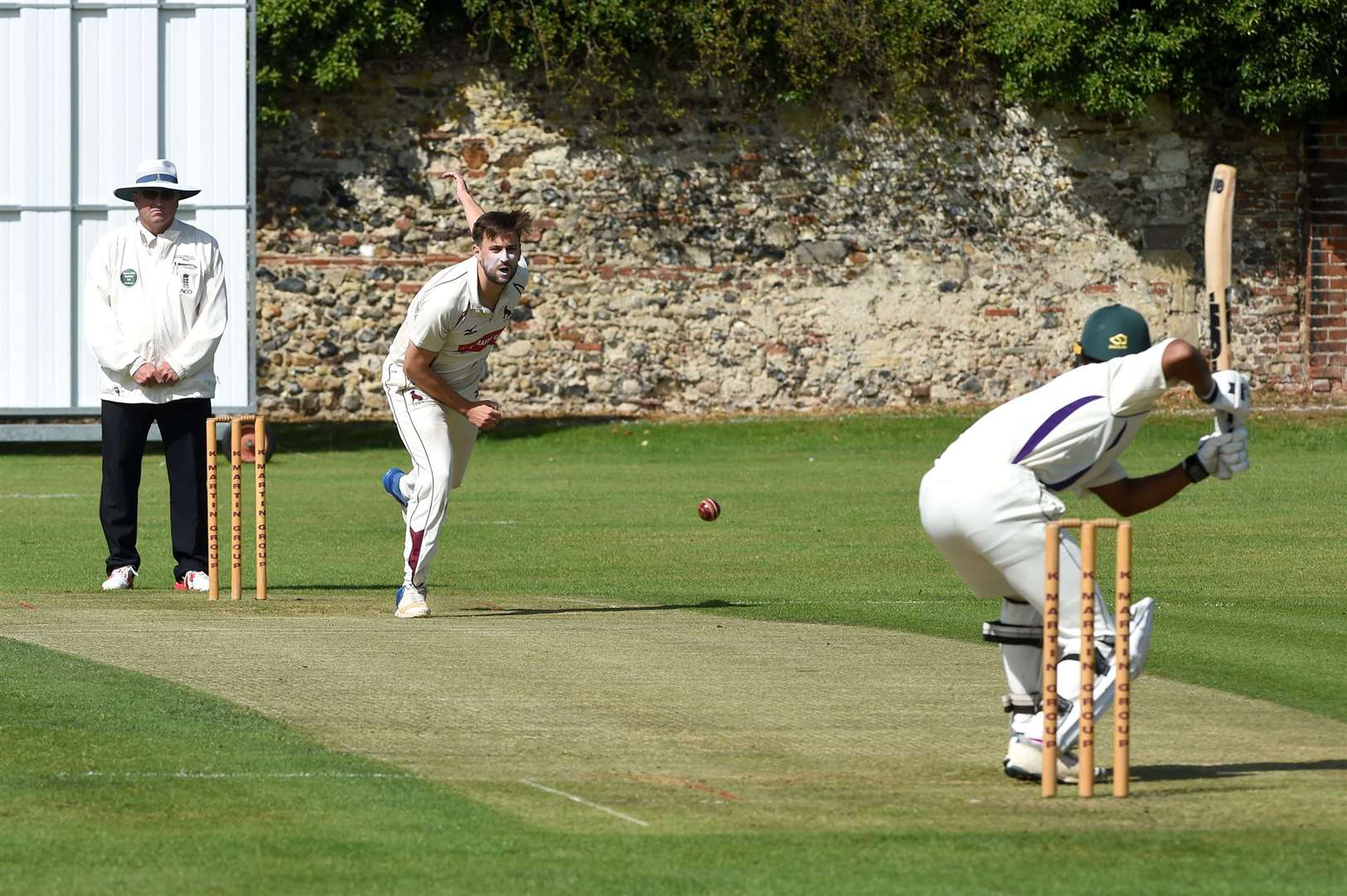 Jonny Gallagher took Saffron Walden's first wicket	Picture: Mecha Morton