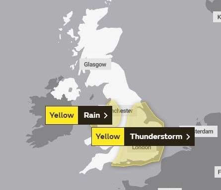 The warning posted by the Met Office for Tuesday, June 25 (12891181)