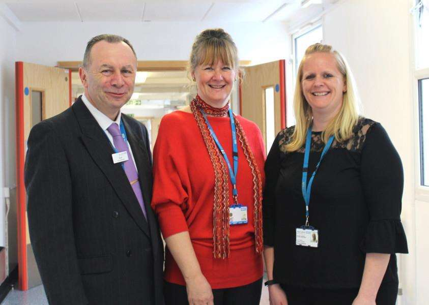 Brodrick Pooley, catering manager, Jacqui Grimwood, estates and facilities development manager, and Hannah Sharland, estates and facilities project manager at West Suffolk NHS Foundation Trust who have been short-listed