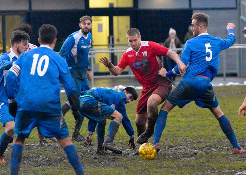 BIG INFLUENCE: Experienced defender Marcus Hunt's (centre) return to Rovers starting XI helped them earn a 0-0 draw with Thetford Town