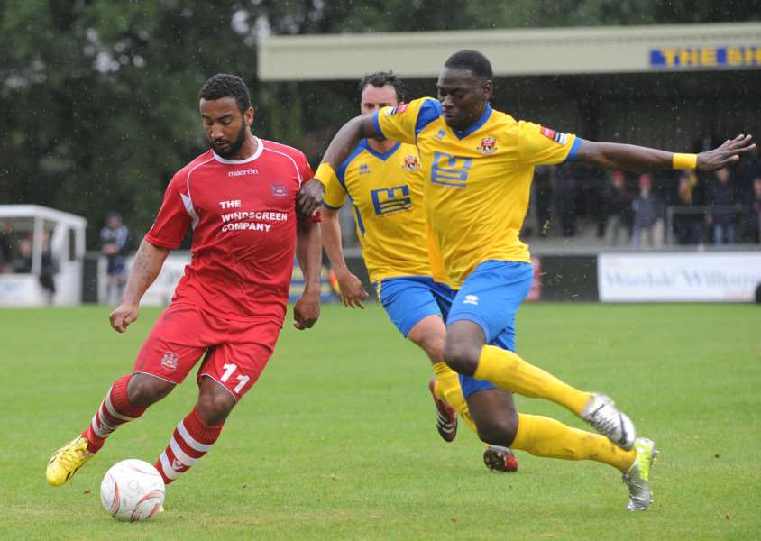 NEW SIGNING: Danny Cunningham, pictured playing for Needham Market, has signed for Stowmarket Town