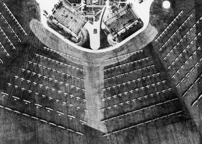 An aerial view of the aircraft arranged for viewing by King George V during the first ever Royal Review of the RAF held at Mildenhall on 6 July 1935.