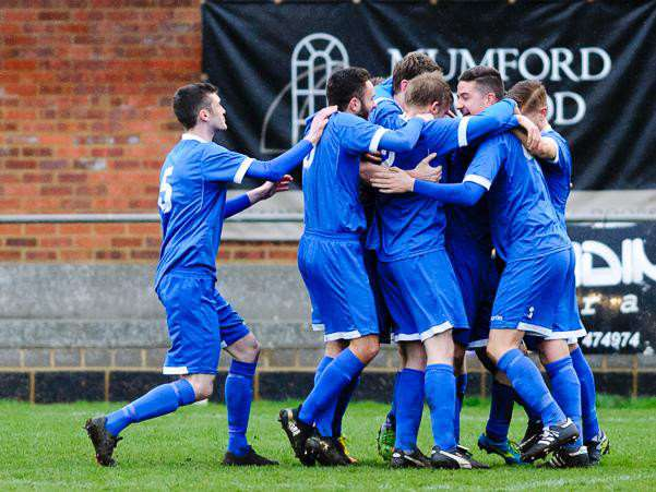 Haverhill Borough players celebrate Luke Clark's opening goal. Pictures: Mark Bullimore