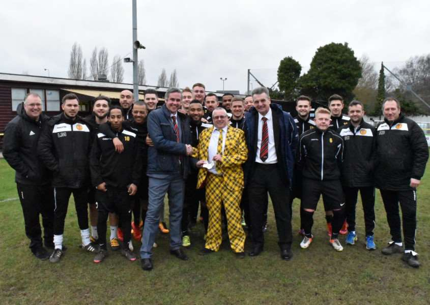 PROMOTION PUSH: Stowmarket Town received a Team Performance award from the Thurlow Nunn League before Saturday's win against Downham Town