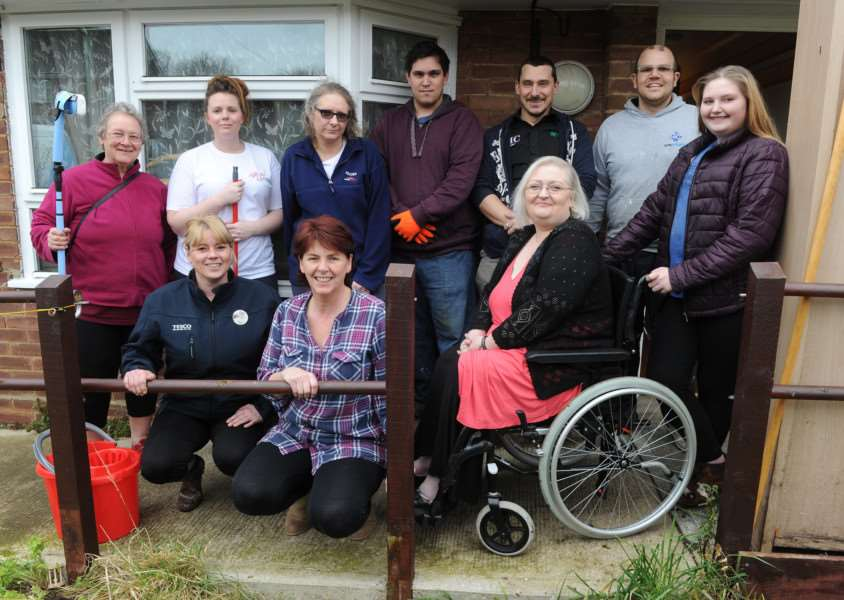 Jo Cordock and daughter Lydia Webster with some of the 'angels' who they say have made their house a home ANL-160221-184039009