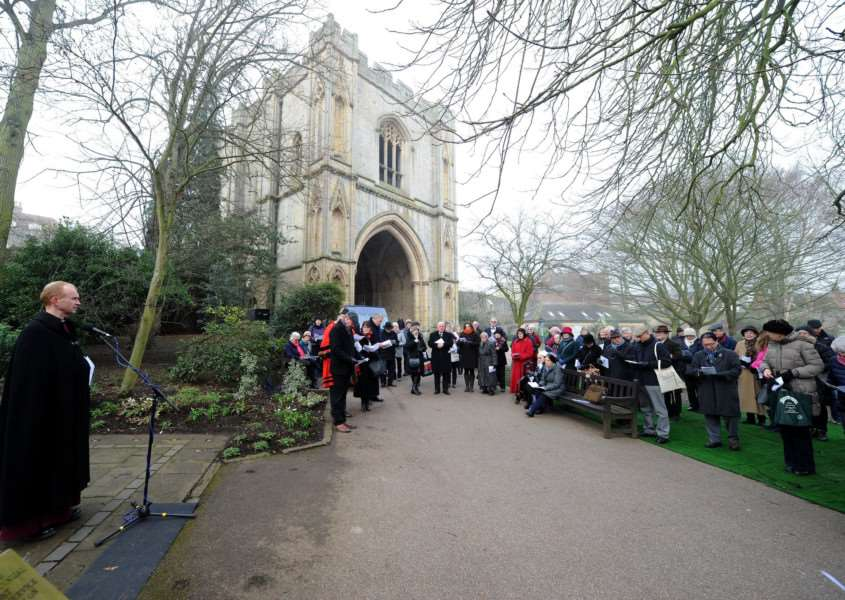 Holocaust Memorial service in the Abbey Gardens'''''PICTURE: Mecha Morton