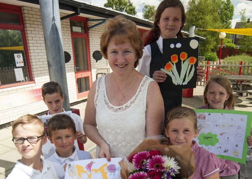 HAVERHILL: New Cangle Primary Head teacher Lynn Beale will be presented with gifts after assembly, ending a 36 year career as a teacher Picture Mark Westley ANL-150721-205021009