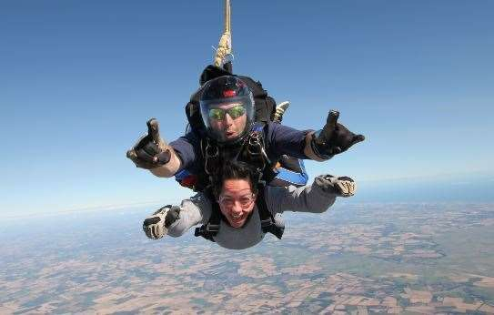 Charlotte said her mother-in-law Leigh was there to watch her do the skydive.